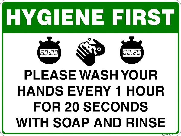 Wash Hands Sign created by graphic design studio online in sign shop Brisbane Queensland Australia
