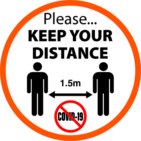 Keep Distance Stickers created by graphic design studio online in sign shop Brisbane Queensland Australia