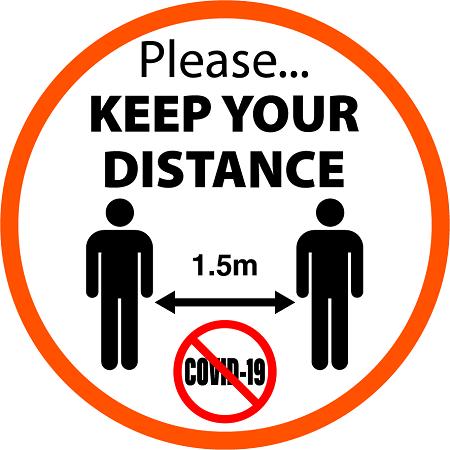 Keep Distance Stickers created by graphic design studio online in sign shop Brisbane Queensland Australia