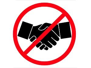 No Hand Shakes Sign at sign shop Brisbane Queensland Australia