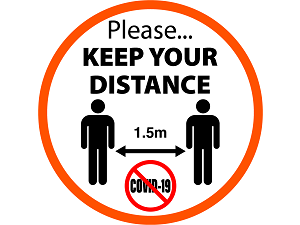 keep-distance-sticker created by design studio online at sign shop Brisbane Queensland Australia